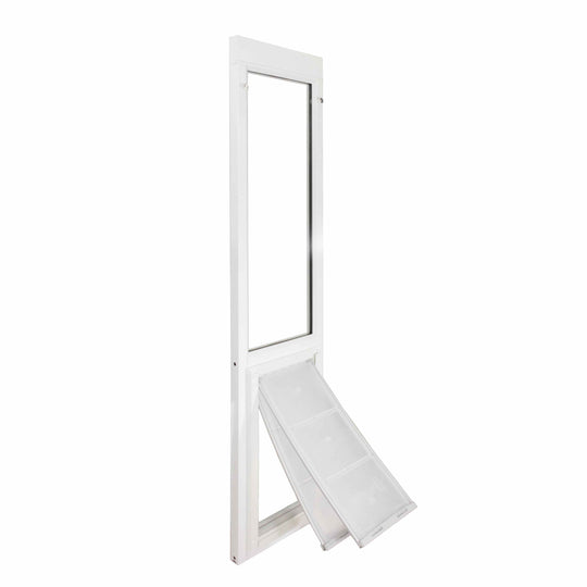 Vinyl dog door for sliding glass door Size Small. Cold weather dog doors to fit your kitty or small dog's needs.