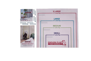 "single flap door mount kit comes with four 1 3/4"" screws, four 2 1/4"" screws, cutout template, and instructions"