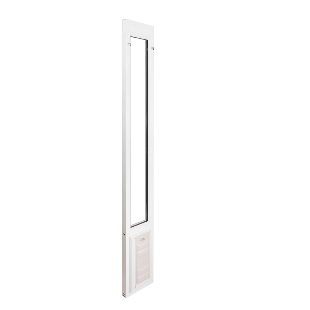 Vinyl dog door sliding door in Size Large. The Endura Flap has a high aspect ratio for ease of use for your doggy or kitty.