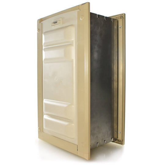 Tan Frame Color - in wall dog door. Locking cover secures your home and restricts pet access when needed.
