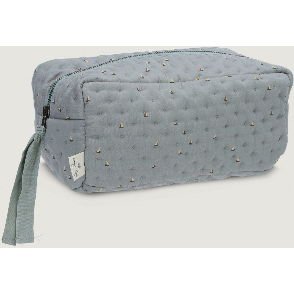 ORGANIC COTTON QUILTED TOILETRY BAG Mille marine french blue