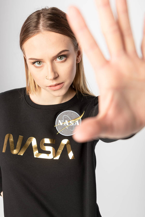 #00010  Alpha Industries одяг, блузка NASA PS SWEATER WNM 365 BLACK/GOLD