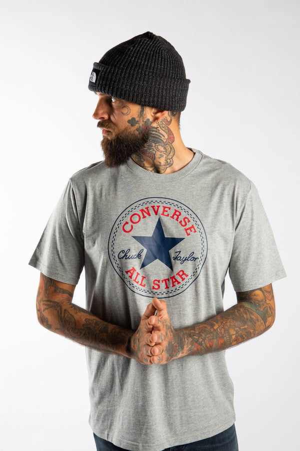 #00082  Converse футболка CHUCK PATCH TEE A03 VINTAGE GREY HEATHER