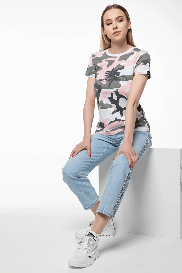 #00028  Alpha Industries футболка NEW CAMO BASIC T WMN 492 PINK CAMO