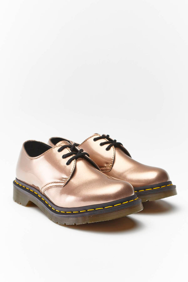 #00113  Dr.Martens туфлі жіночі 1461 VEGAN CHROME PAINT METALLIC ROSE GOLD