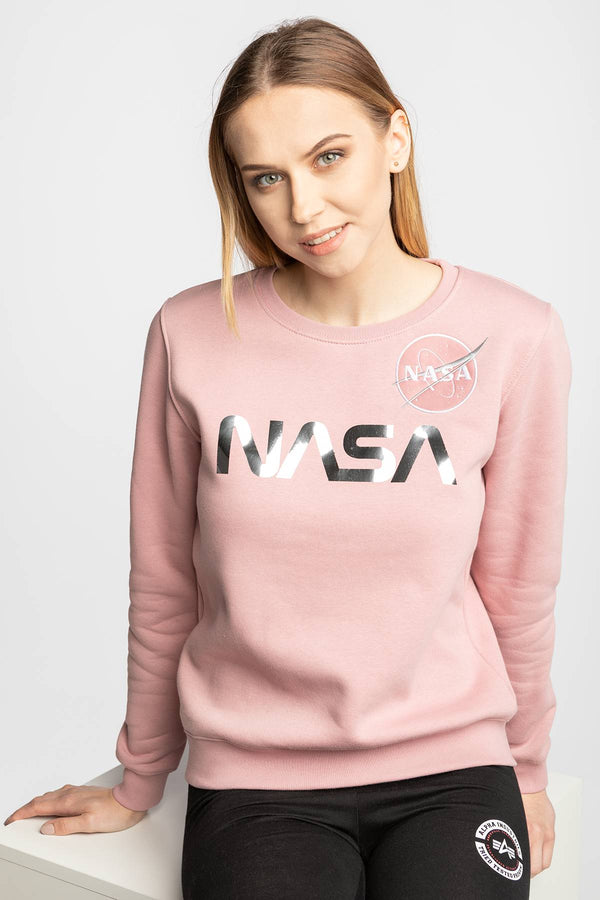 #00003  Alpha Industries одяг, блузка NASA PM Sweater Wmn 487 PINK/SILVER