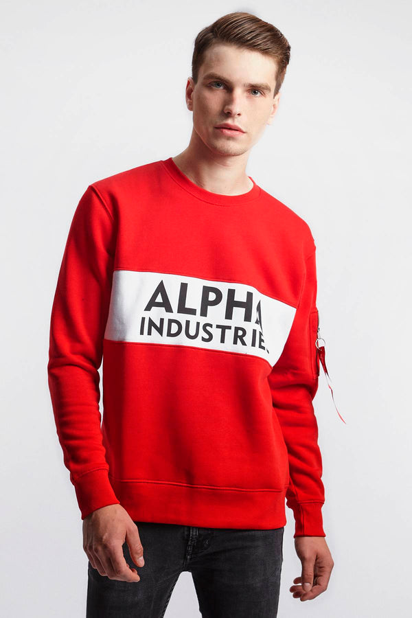 #00075  Alpha Industries одяг, блузка INLAY SWEATER 328 SPEED RED