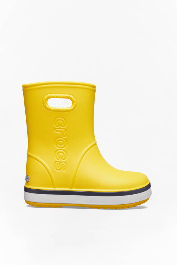 #00010  Crocs взуття, гумові чоботи CROCBAND RAIN BOOT KIDS 205827 YELLOW/NAVY