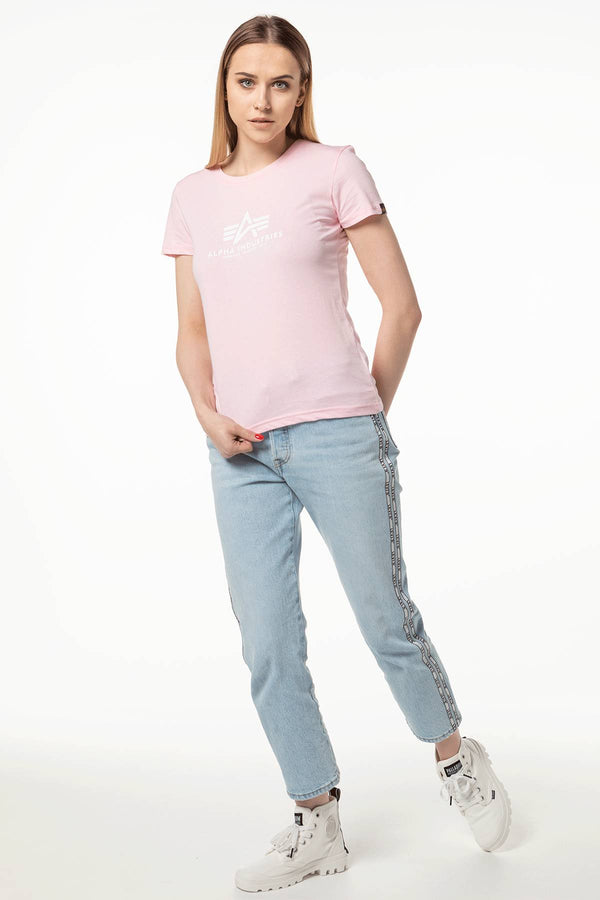 #00031  Alpha Industries футболка NEW BASIC T WMN 489 PASTEL/NEON PINK