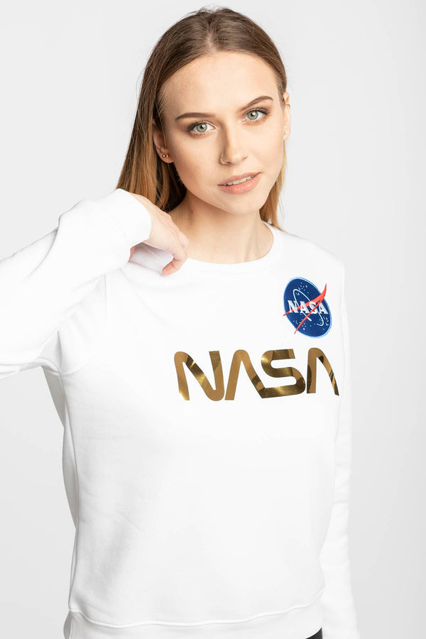 #00006  Alpha Industries одяг, блузка NASA PM Sweater Wmn 438 WHITE/GOLD