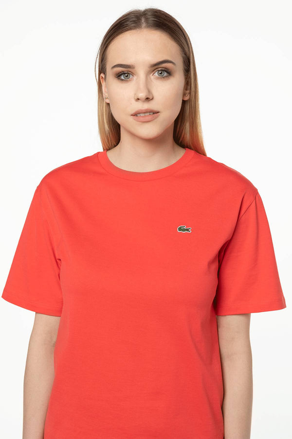 #00038  Lacoste футболка WOMEN'S CREW NECK T-SHIRT 4BY RED