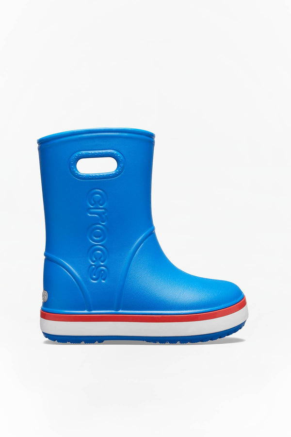 #00010  Crocs взуття, гумові чоботи CROCBAND RAIN BOOT KIDS 827 BRIGHT COBALT/FLAME