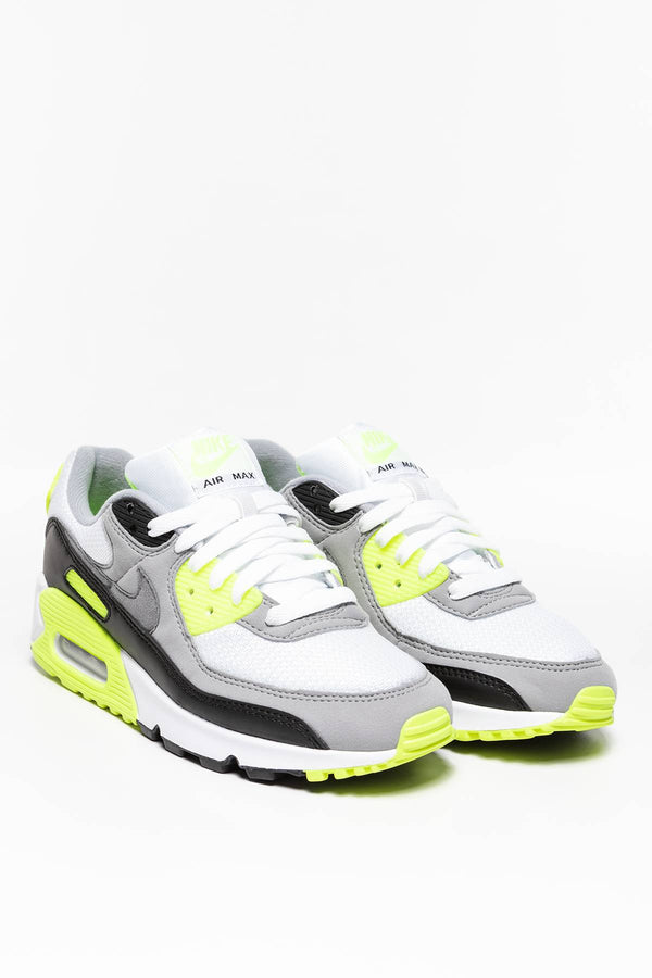#00007  Nike взуття, кросівки W Air Max 90 490-101 WHITE / BRIGHT GREEN-YELLOW / BLACK / PARTICLE GREY