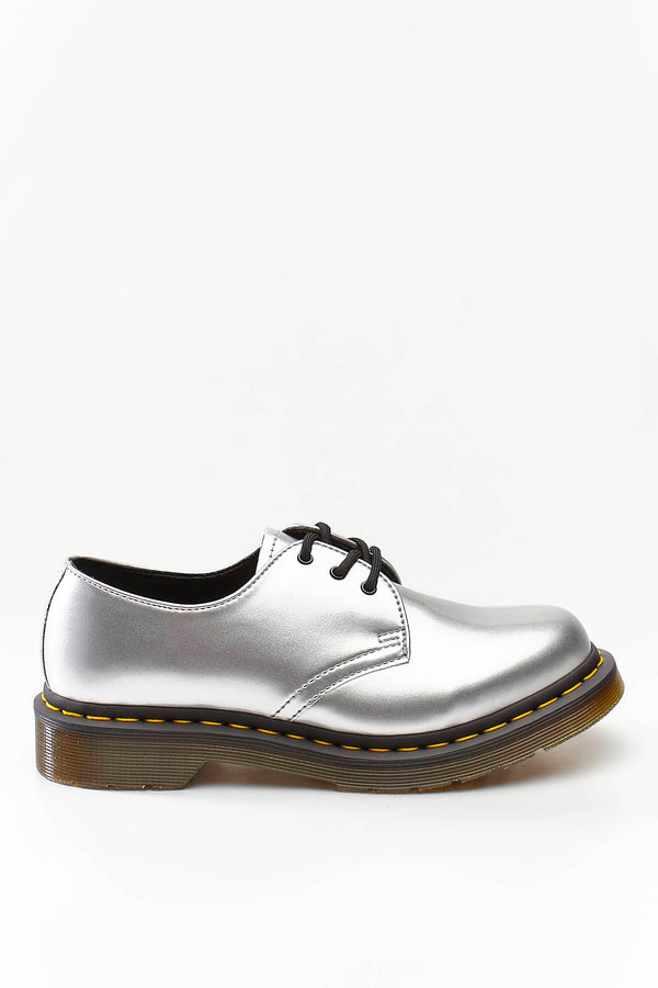 #00073  Dr.Martens туфлі 1461 VEGAN CHROME SILVER CHROME PAINT METALLIC
