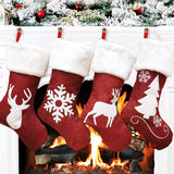 Christmas Stockings Burlap with Large Plush Cuff