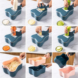 6-in-1 Manual Vegetable Slicer with Hand Guard Ukulele Style