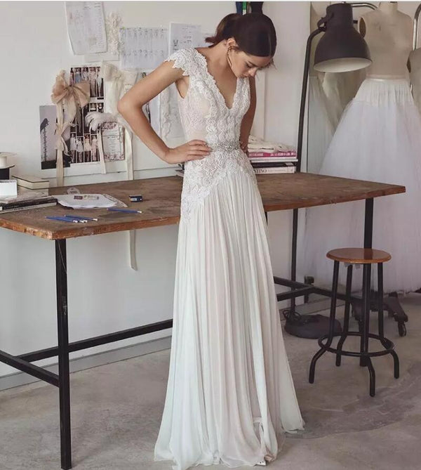 Backless Light Chiffon Wedding Dresses Lace Aplliques Cap Sleeves Sexy V Neckline with Crystals Waist Bride Gowns Sheath Skirt