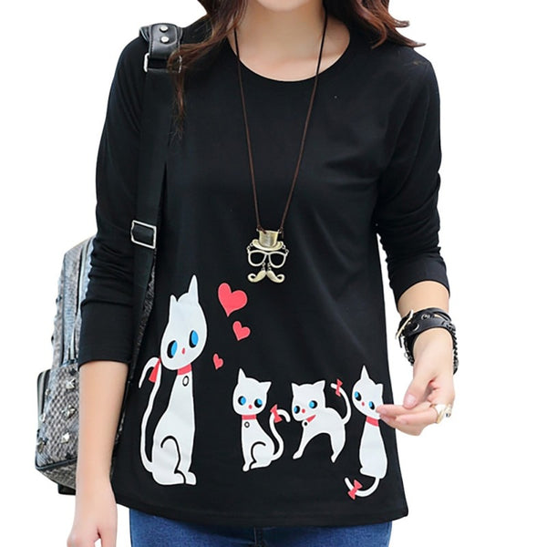 Autumn Casual Wild Women T-Shirt Round Neck Cat Print Pullover Long Sleeve Basic Bottoming Shirt Tops