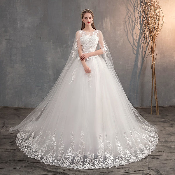 Mrs Win 2019 Chinese Wedding Dress With Long Cap Lace Wedding Gown With Long Train Embroidery Princess Plus Szie Bridal Dress