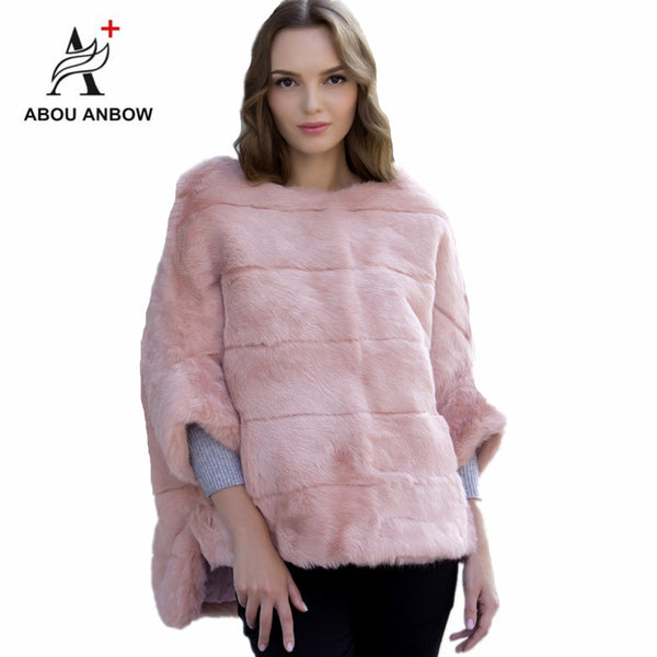 Casual Natural Real Rabbit Fur Coat Women Winter Mink Fur Short Cloak Free Size O-Neck Rabbit Fur Jacket Women Real Fur Coat