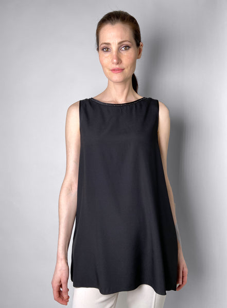 Les Copains Black Tank Top With Sequin Detail. (Last One, Size 46)