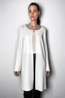 D. Exterior White Cardigan with Leather and Metallic Stud Details