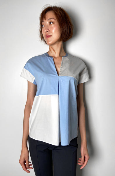 Lorena Antoniazzi Blue and Taupe Colour Block A-Line T-Shirt