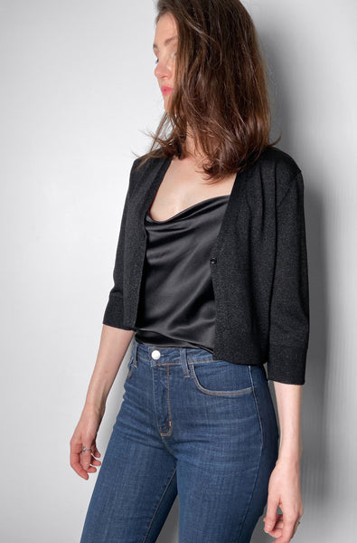 Dorothee Schumacher Black Shiny Muse Cardigan