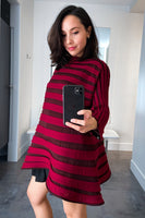 Pleats Please Red and Burgundy Bounce Knit Top