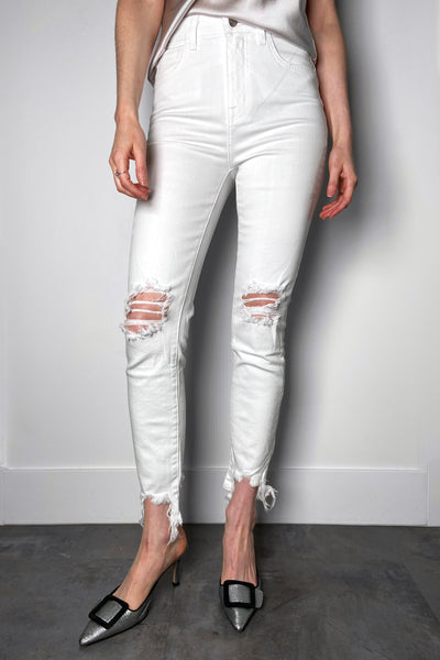L'Agence Distressed White Jeans