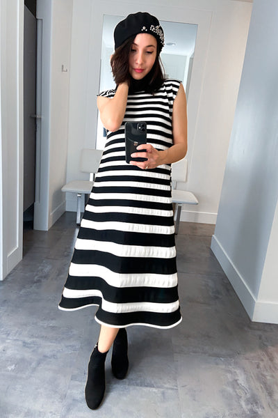Pleats Please Black and White Bounce Knit Dress