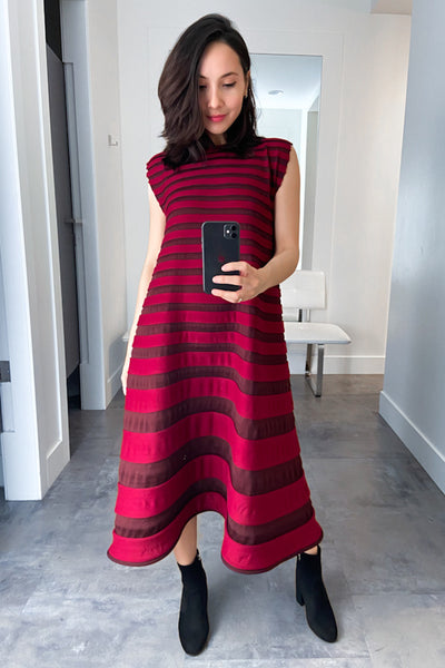 Pleats Please Red and Burgundy Bounce Knit Dress