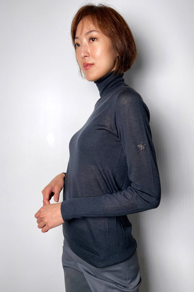 Lorena Antoniazzi Charcoal Fine Cashmere Turtleneck With Swarovski Detail