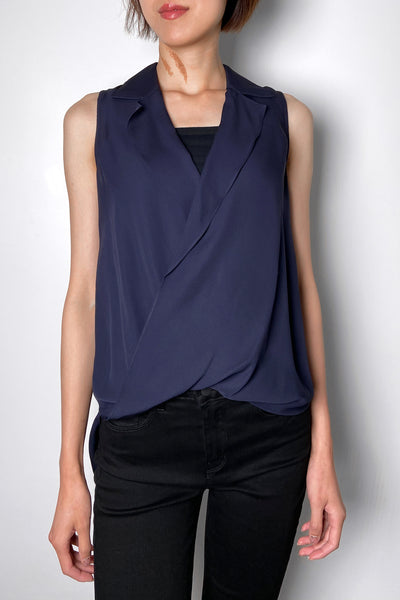 L'Agence Navy Sheer Blouse with Blouson