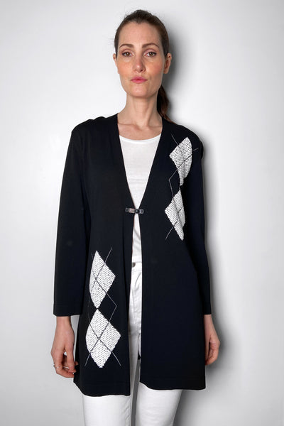 D. Exterior Black and White Argyle Print Cardigan. (Last One, Size S)