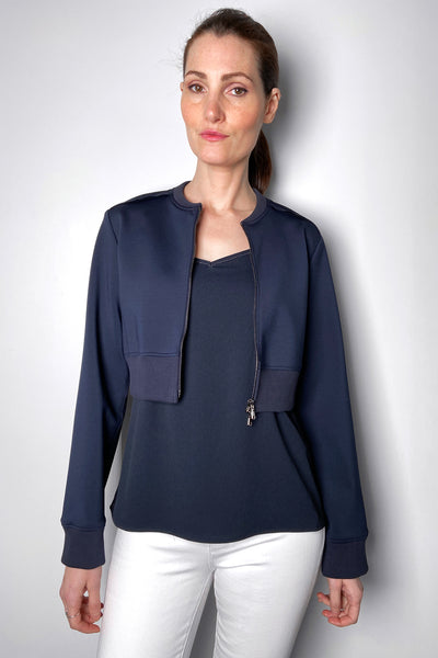 Dorothee Schumacher Cropped Navy Scuba Jacket. (Last One, Size 4)