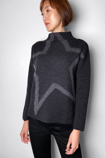 Lorena Antoniazzi Charcoal Turtleneck With Sequins and Star Detail