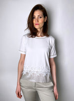 D. Exterior White T-Shirt with Sheer Beige Waist Embellishment