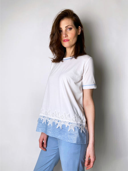 D. Exterior White T-Shirt with Sheer Blue Waist Embellishment