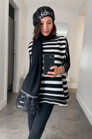 Pleats Please Black and White Bounce Knit Top