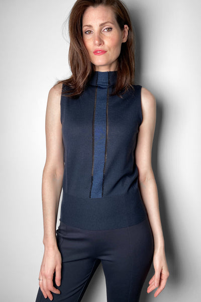 Lorena Antoniazzi Navy Mock Neck Tank Top