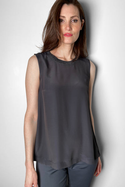 Lorena Antoniazzi Charcoal Tank Top With Sparkly Collar