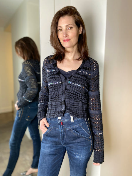 Lorena Antoniazzi Navy Loose-Knit Cardigan with Sequin