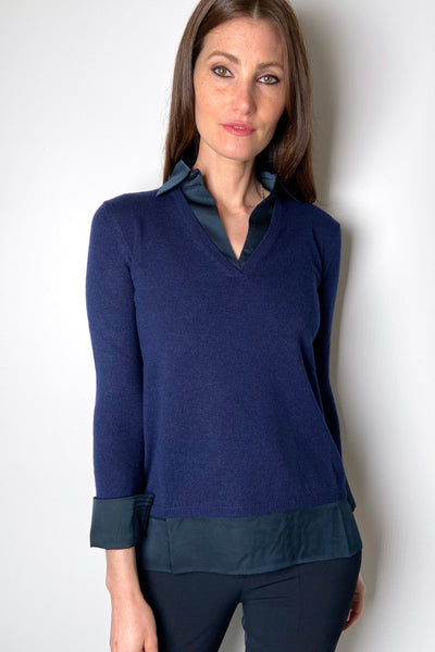 Rani Arabella Navy Polo with Silk Details