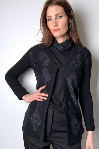Rani Arabella Black Cashmere Cardigan with Embellished Argyle Weave