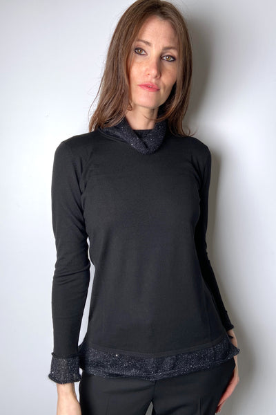 Rani Arabella Black Turtleneck with Sparkly Collar