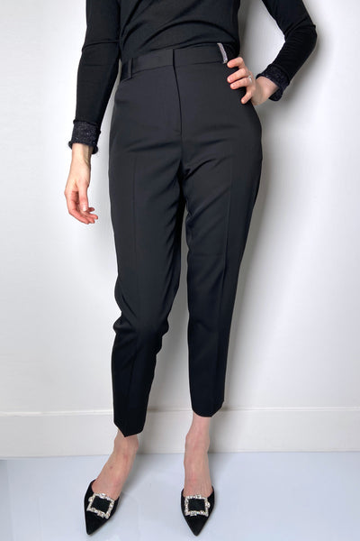 Fabiana Filippi Black Wool Trousers with Brilliant Detail