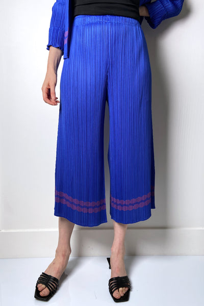 Pleats Please Blue Wide Leg Capri with Pink Trim Print