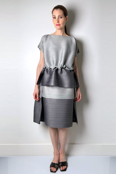 Pleats Please Grey Colour Block Bouncy Skirt