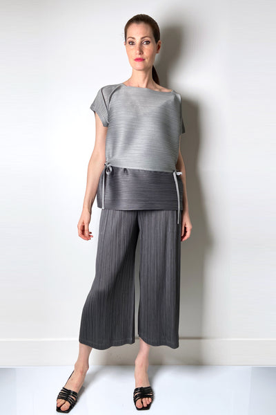 Pleats Please Grey Wide Leg Capris